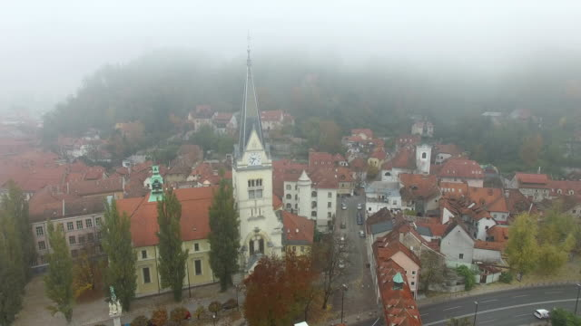 Aerial view of morning misty Ljubljana video