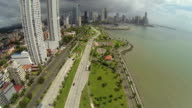 Aerial view of morning traffic on Balboa avenue in Panama City skyscrapers skyline. video