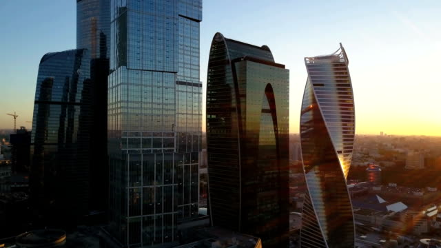 Aerial view of Moscow city and office business buildings video