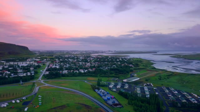 Aerial view of Mosfellsbær city at Iceland video