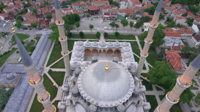 aerial view of mosque and dome from top video