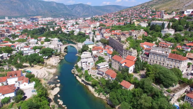 Aerial view of Mostar, Bosnia and Herzegovina video