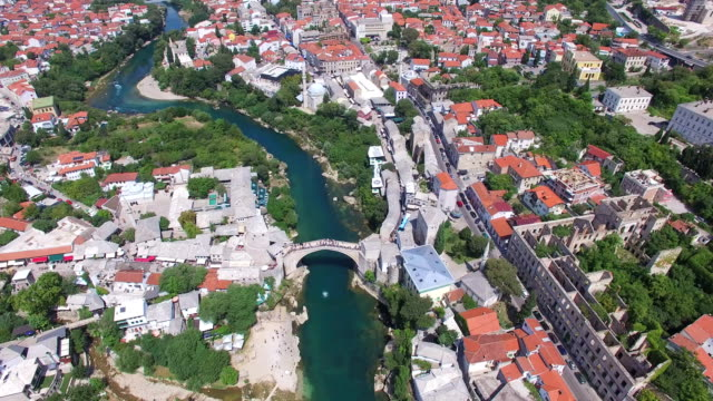 Aerial view of Mostar city in Bosnia video