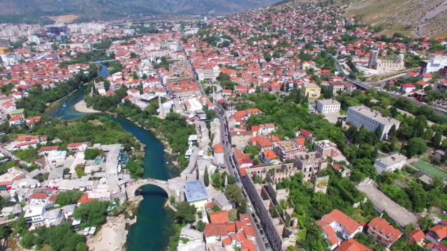 Aerial view of Mostar city on river Neretva in Bosnia video