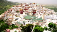Aerial view of Moulay Idriss cityscape video