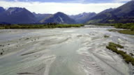 Aerial view of  Mountains over remote river, Glenorchy, Central Otago, New Zealand video