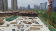 aerial view of new construction site in hangzhou. 4k video