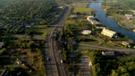 Aerial view of New Jersey Freeway, and suburbs, NY, USA video