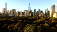 aerial view of new york city skyline metropolis. cityscape establishment shot of high rise buildings video