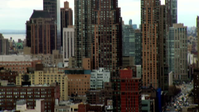 aerial view of new york city skyscrapers and street video
