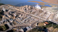 Aerial view of  oceanside oil refinery video