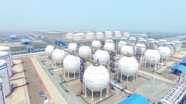 aerial view of oil and fuel tanks,shoot by drone,4k video