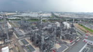 Aerial view of oil refinery plant video