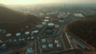 aerial view of oil storage tank in petrochemical industry estate video