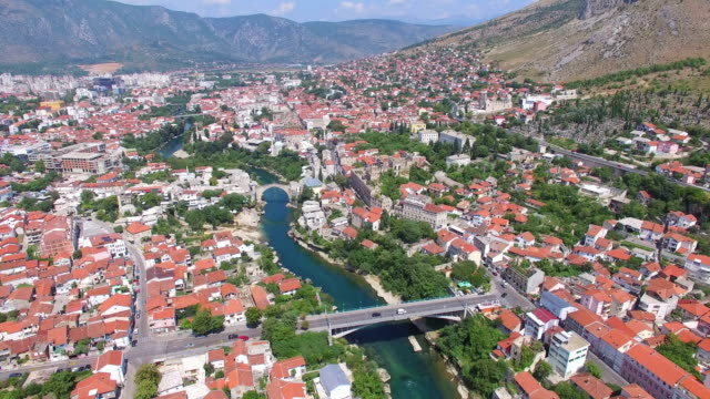 Aerial view of old and modern bridge in Mostar, Bosnia and Herzegovina video