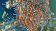 Aerial view of Old City of Dubrovnik at sunset video