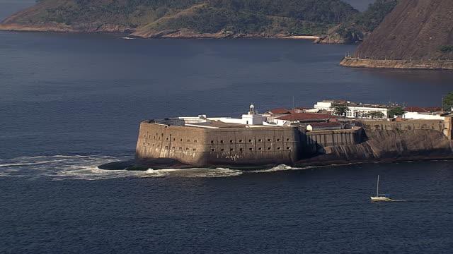 Aerial view of Old Fortress Fortaleza de Santa Cruz, Rio de Janeiro, Brazil video