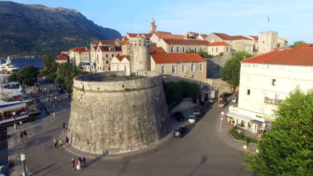 Aerial view of old fortress in Korcula, Croatia video