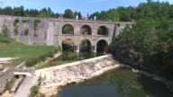 Aerial view of old Tounj Bridge, Croatia video