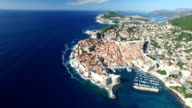 Aerial view of Old Town of Dubrovnik video