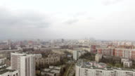 Aerial view of one of the districts of Moscow. Moscow state University and Moscow city in the distance. Urban cityscape video