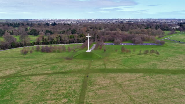 Aerial view of Papal cross in Phoenix park Dublin Ireland video