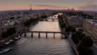 Aerial view of Paris during sunset video