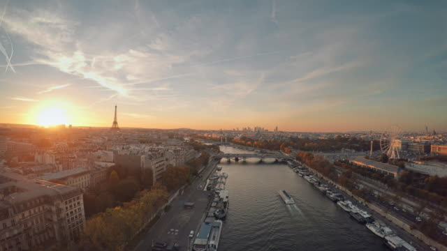 Aerial view of Paris with Seine river during sunset video