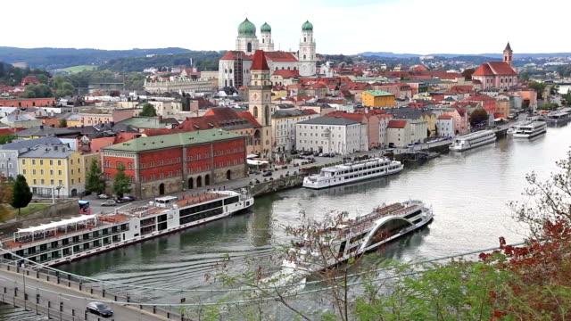 Aerial view of Passau skyline, Germany video