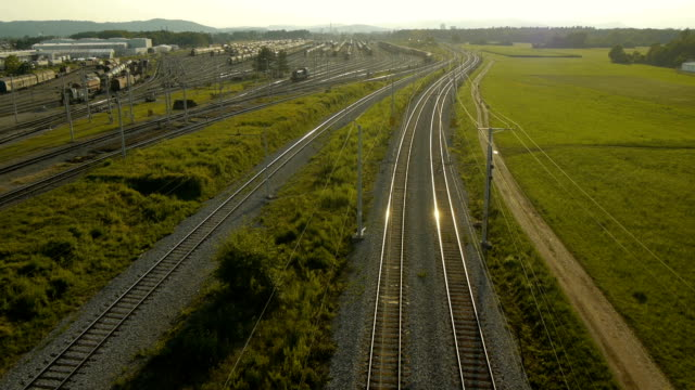 Aerial view of passenger train video