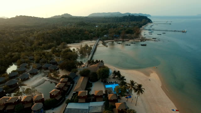 aerial view of payam island andaman sea ranong province southern of thailand video