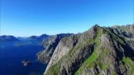 Aerial view of peaks on Lofoten, Norway video