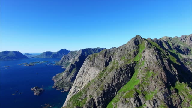 Aerial view of peaks on Lofoten, Norway video