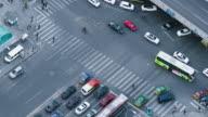 T/L MS HA ZI Aerial View of Pedestrians Cross / Beijing, China video