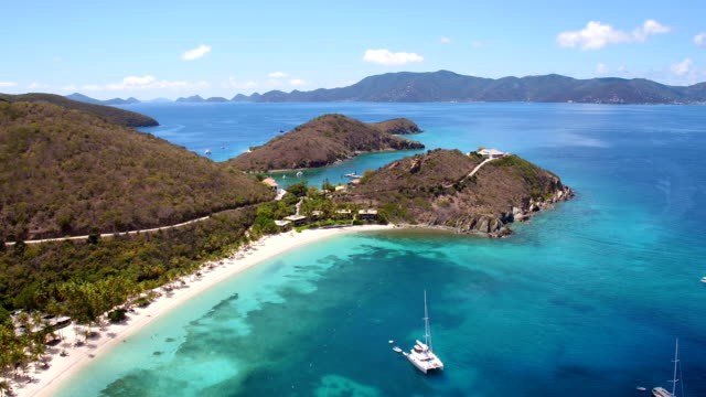 aerial view of Peter Island, British Virgin Islands video