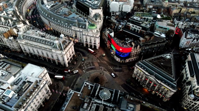Aerial View of Piccadilly Circus, City of London, England video