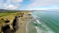 Aerial view of Playa de las Catedrales - Beautiful beach in the north of Spain video