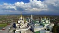 Aerial view of Pochaev Monastery, Orthodox Church, Pochayiv Lavra at the day, Ukraine. video