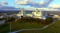 Aerial view of Pochaev Monastery, Orthodox Church, Pochayiv Lavra, Ukraine. video