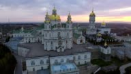Aerial view of Pochaev Monastery, Pochayiv Lavra, Ukraine. video