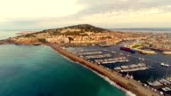 aerial view of port area of sete, france video