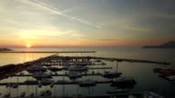 Aerial view of port in Bar city at sunset video