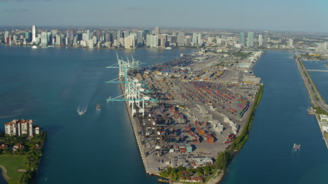 Aerial view of Port of Miami video