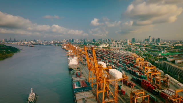 Aerial view of Port Terminal video