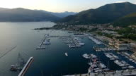 Aerial view of Porto Montenegro. Tivat city video
