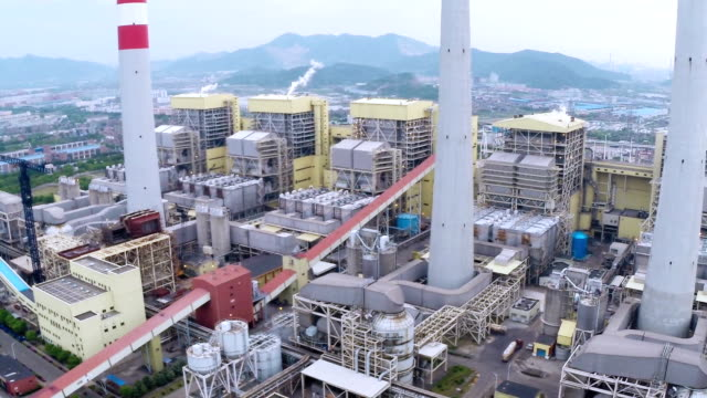 Aerial view of Power station generating electricity at daytime video