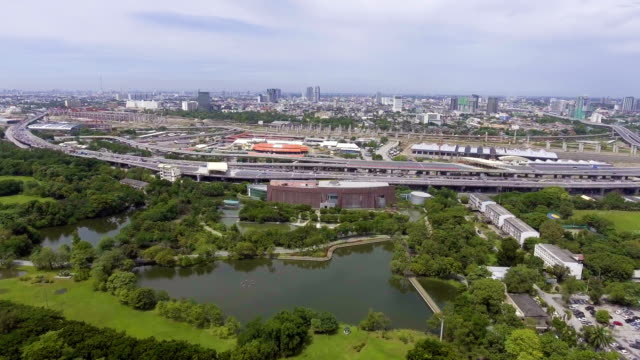 Aerial View of Public Park in the City next to Express Way video
