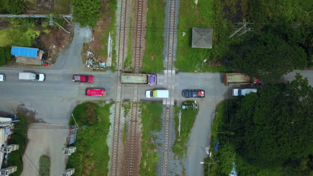 Aerial View of Railroad Crossing video
