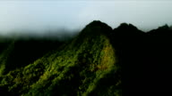Aerial view of rain clouds  volcanic cliffs, Hawaii video