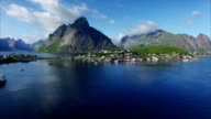 Aerial view of Reine, scenic town in Norway video